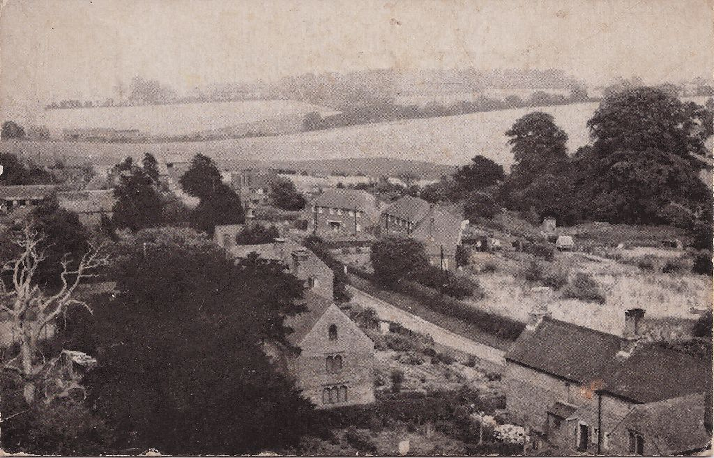 Goodnestone village looking roughly north from Holy Cross church tower